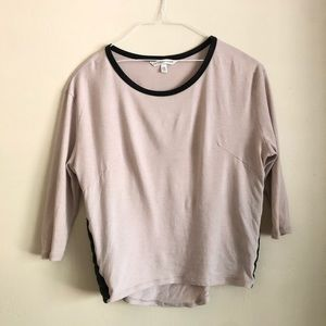 Light beige tee with black faux leather details